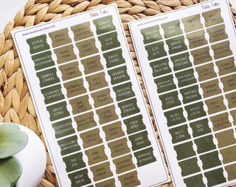 Mini Laminated Bible Tabs with Adhesive, Light Dark Olive Green Vinyl Bible Tabs, Bible Journaling for Men, Bible Dividers, Bible Stickers