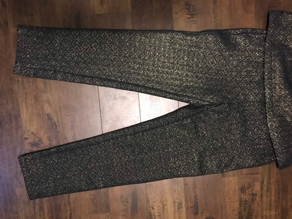 VTG Two piece  Black and Gold 1970's Outfit - image 4