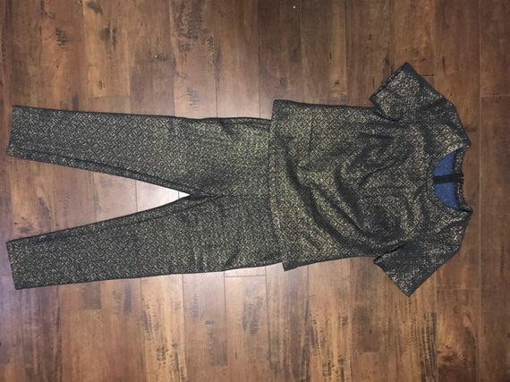 VTG Two piece  Black and Gold 1970's Outfit - image 10