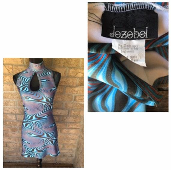 Vintage MOD JEZEBEL psychedelic mini Dress