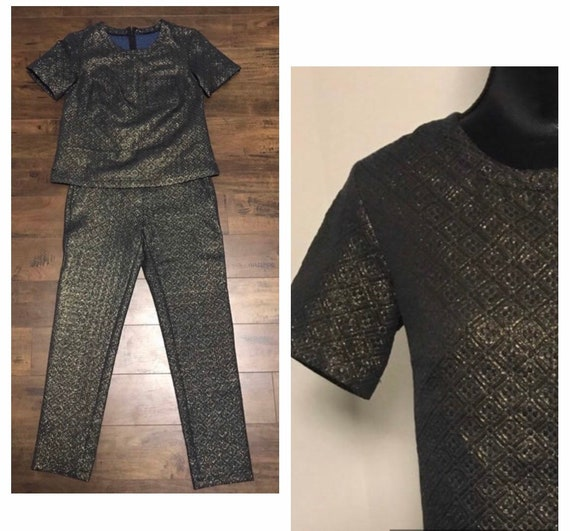 VTG Two piece  Black and Gold 1970's Outfit - image 1