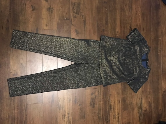 VTG Two piece  Black and Gold 1970's Outfit - image 5