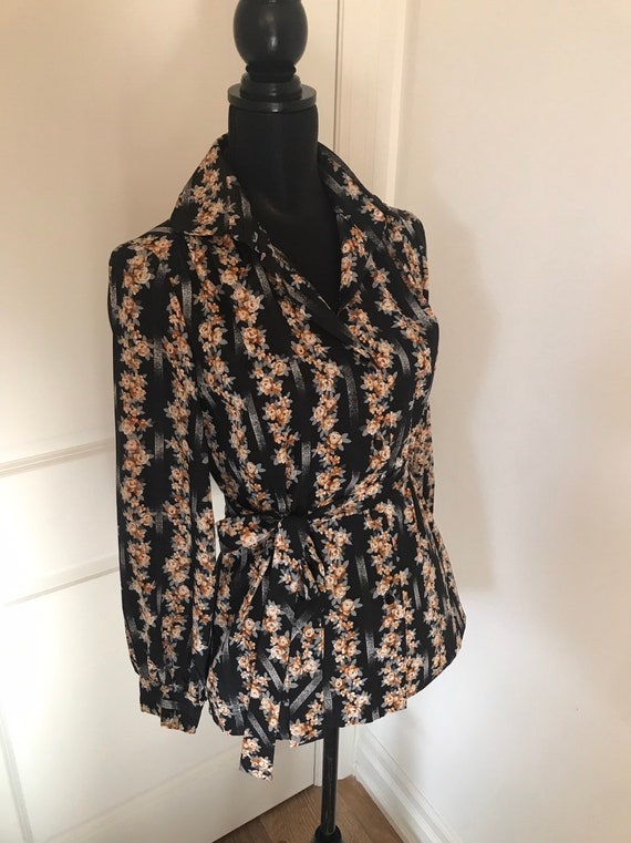 Vintage 1970's Tunic belted Blouse