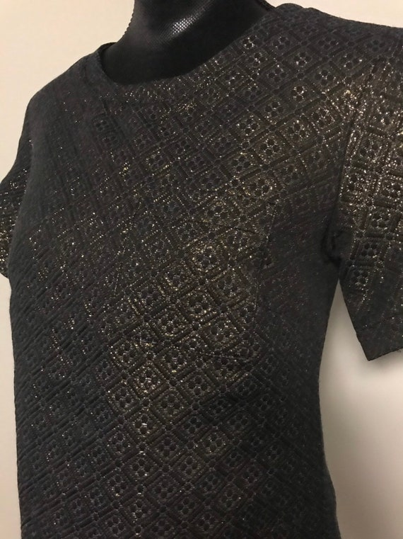 VTG Two piece  Black and Gold 1970's Outfit - image 3
