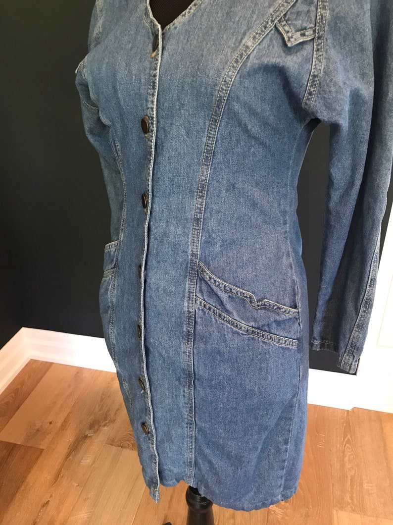 1980/'s Pelican Cove Denim Button Up Dress /'free shipping/'