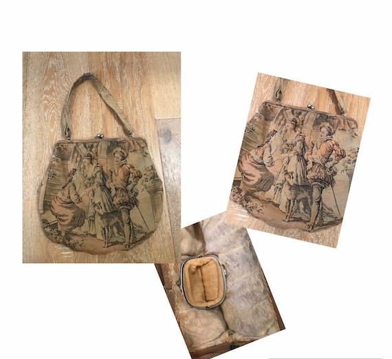 Vintage 1930's upholstered Handbag