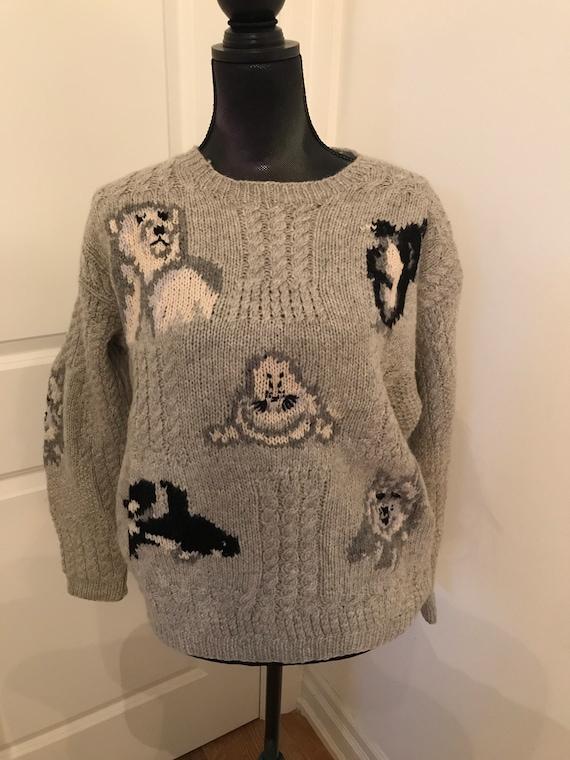 Vintage Hand knit Shetland EAGLE EYE Wool sweater