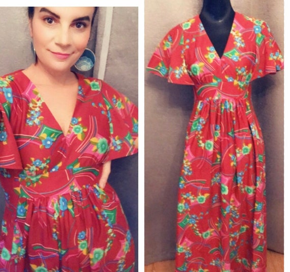 VTG Empire Waist Butterfly Sleeve 1970's Dress