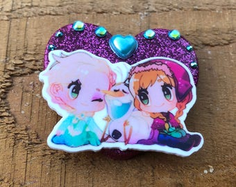 Elsa, Anna and Olaf Frozen Brooch