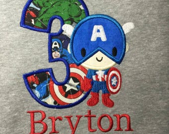 Captain America  Avengers Birthday shirt personalized embroidery and appliqué