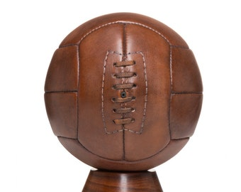 Vintage football, Handmade Brown Leather Vintage football - 12 panel /Gift for men / soccer ball /  football / vintage sports / wedding gift