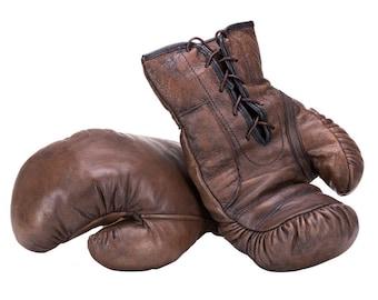 Boxing Gloves; Handmade Brown leather Vintage style Boxing Gloves / Father's Day / gift for Boxing fan / gift for men / retro prop