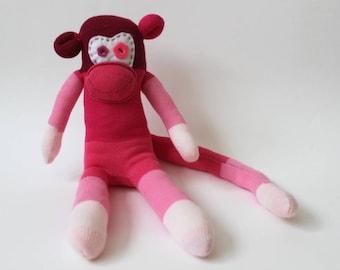 Harriot the Sock Monkey  Handmade, Soft Toy, Birthday Gift, Stripy Socks,Spare socks, Lost socks, Ombre Socks, unique gift, monkey mascot