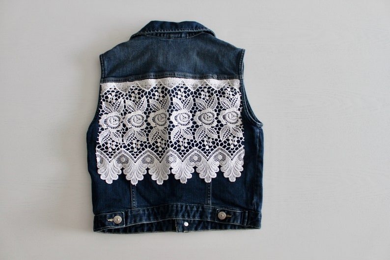 fbb662a5a9d70d Lace Up-cycled Sleeveless Denim Jacket Floral Lace Boho