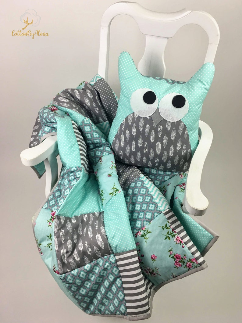 consenting of a blanket pillow-owl and textile flags. Personalized Baby Blanket Quilt--Patchwork quilt--Baby Shower--Pink kit for kids