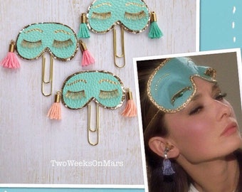 Breakfast at Tiffany's Holly Golightly Audrey Hepburn sleep mask with tassels TN planner clip/ paper clip/ or pin brooch