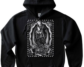 size 40 66cf9 f07bf Virgin Mary hoodie Pullover Sweatshirt Guadalupe Mexican Chicano Art Aztec  Cholo