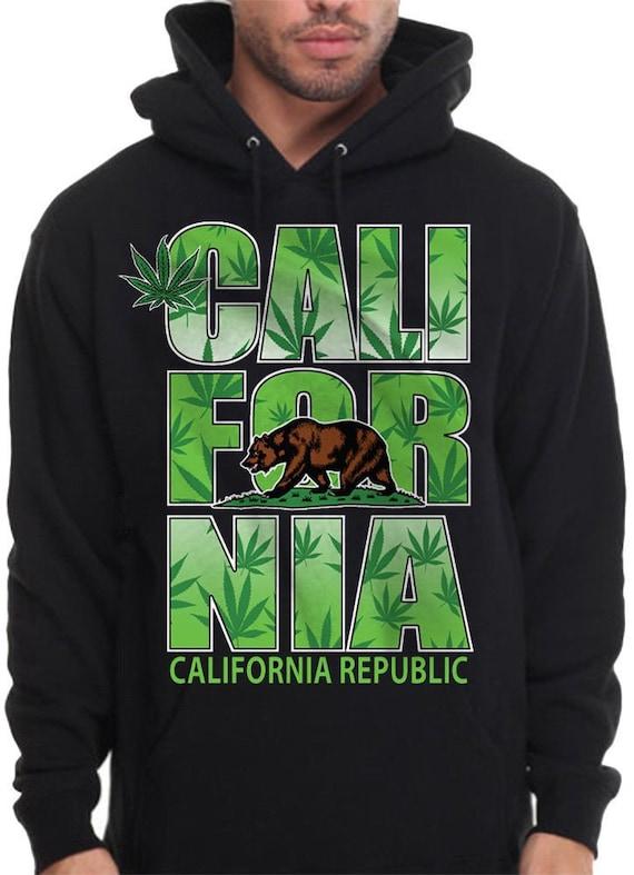 Pot Leaf Grizzly Bear California Republic Cali Life Hoodie Pullover Sweatshirt