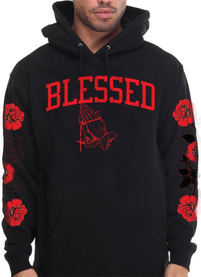 47be40ee2cf2 Men s Blessed Hoodie With Red Roses On Sleeve Designer