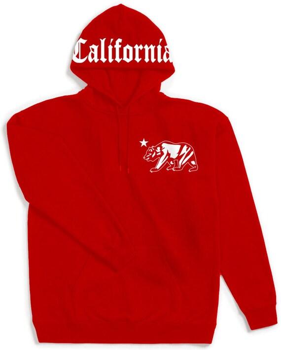Mens Black California Republic Pullover Hoodie Red Bandana Print Cali Sweatshirt