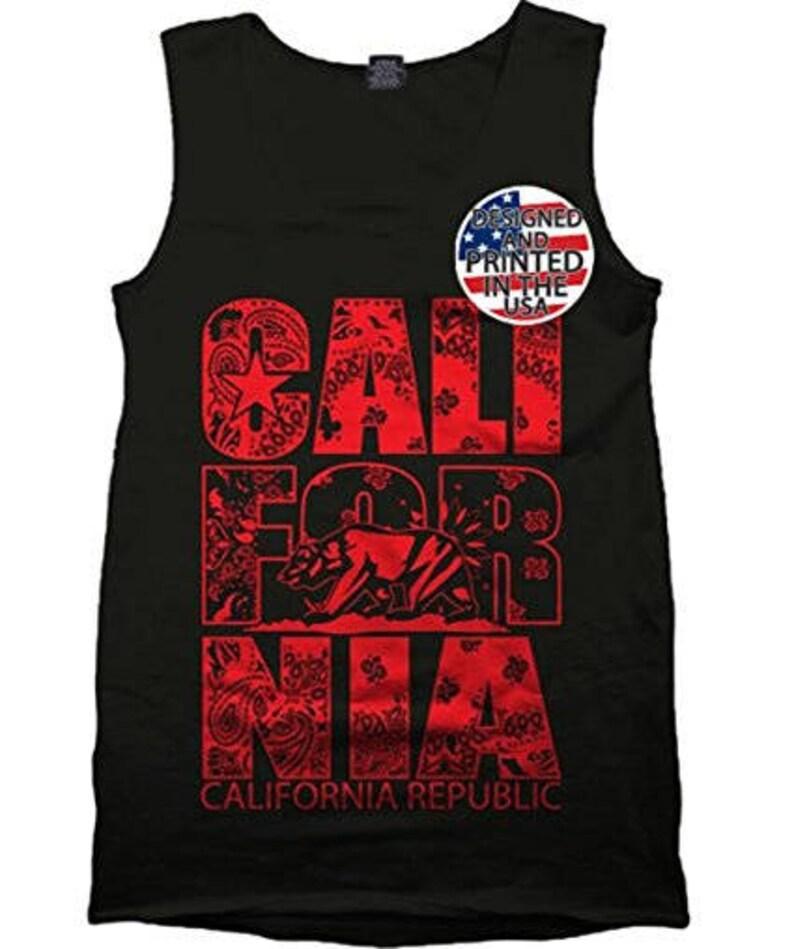 California Red Bandana Tank Top Gym Workout Muscle T Shirt Urban Wear  Republic