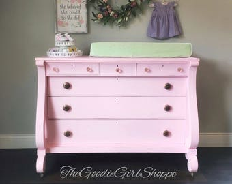 Sold ~ Perfectly Pink Vintage Empire Dresser ~ Little Miss Morgan ~ nursery dresser changing table princess room