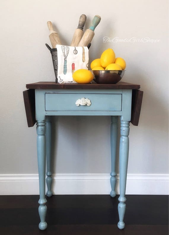 Terrific Sold Farmhouse Drop Leaf Side Table Blue End Table Nightstand Addie Mae Squirreltailoven Fun Painted Chair Ideas Images Squirreltailovenorg