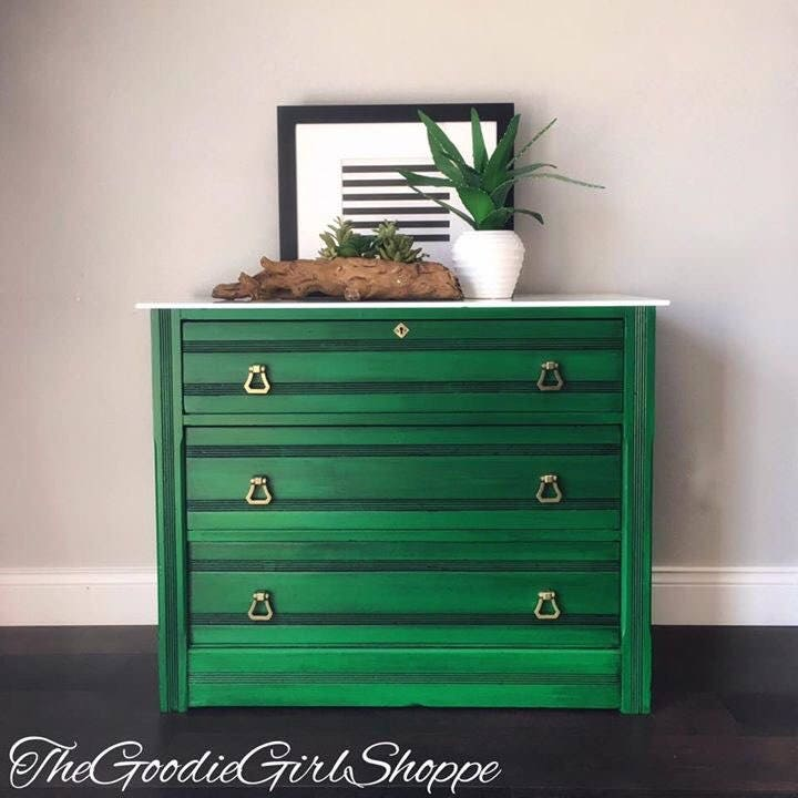 Sold Antique Eastlake 3 Drawer Chest Dresser Emerald Green