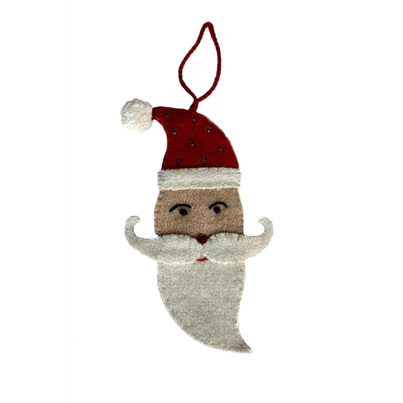 Double sided Mustached Santa ornament with embroidery and bead embellishments