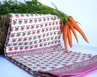 Traditional Wood-block tablecloth pink and green flower motif.