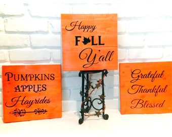 SET OF THREE! Fall Wood Signs, Fall Decor, Rustic, Thanksgiving Signs, Mantel Signs, Autumn, Also Comes Individually