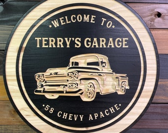 Chevy Truck Sign Car Lover Gift Ford Truck Sign Dads Corvette Sign Grandpas Shop Sign Custom Shop Sign Dads Shop Metal Sign