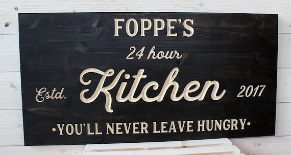 Kitchen Sign Personalized Kitchen Signs Farmhouse Signs Rustic You Ll Never Leave Hungry Carved Signs Kitchen Decor Wedding Gift