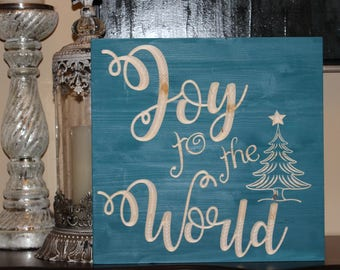 Joy to the World, Holiday Wood Signs, Christmas Decor, Rustic, Christmas Signs, Hostess Gift, Holiday Decor, Carved Signs, Holiday Decor