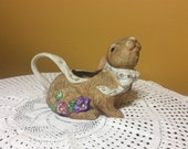 Vintage Hand Painted Easter Ceramic  Embossed Bunny Rabbit Pitcher