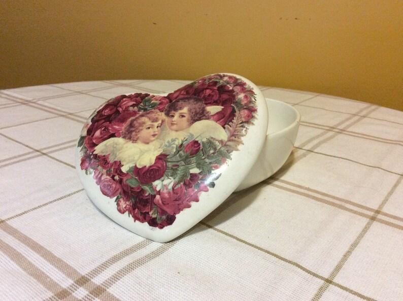 Vintage Porcelain Angels with Roses Trinket Box Teleflora