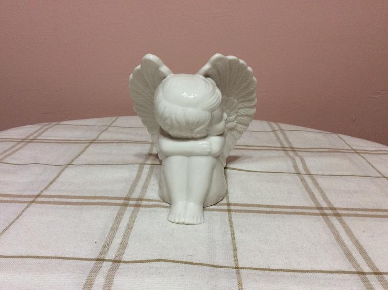 Cherub Angel Sitting Bisque Figurine