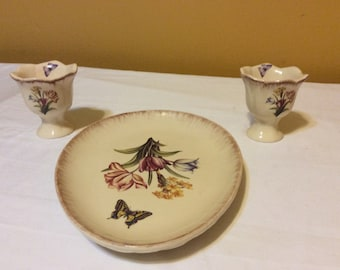 French Country Candy Dish with Two Miniature Candy Dishs with Stems
