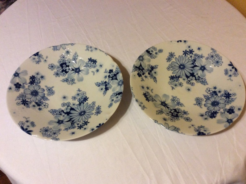 Antique Traditional Asian Blue And White Porcelain Hand Painted Plates