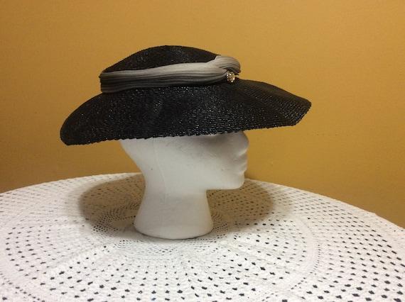 Vintage Wide Brim Straw Tilt Hat - image 2
