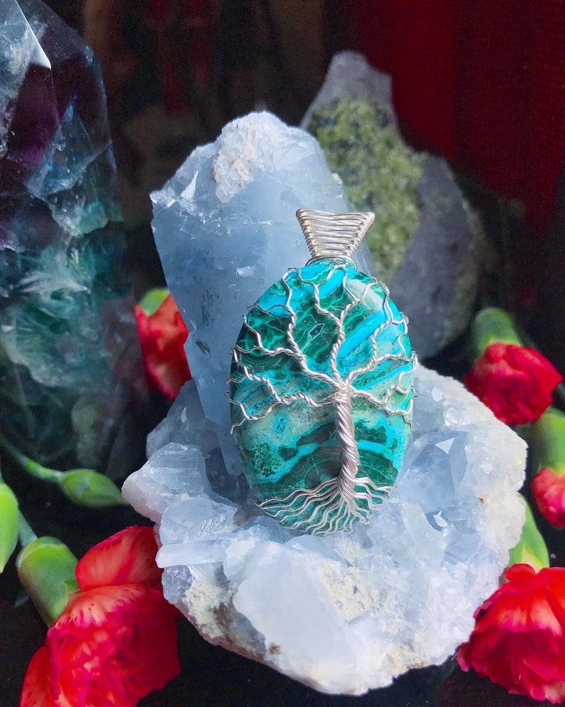 Malachite /& Azurite Tree Pendant