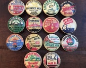 SET OF SIX, 1.5 quot ,vintage dairy labels,cabinet knobs,drawer pulls,milk labels,dairy label knobs,farmhouse kitchen knobs,country kitchen knobs