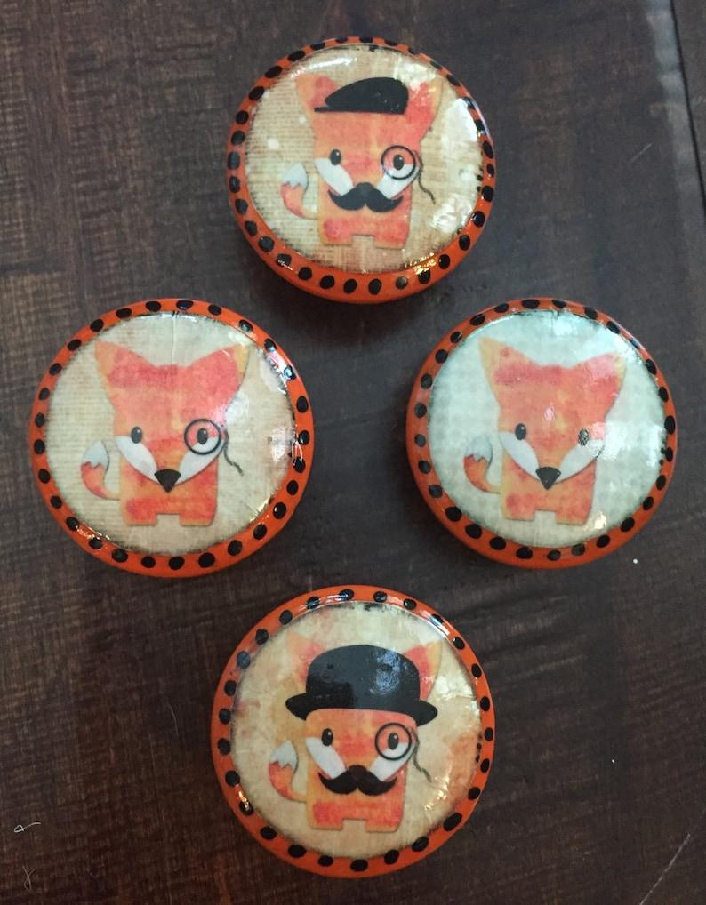 cabinet knobs 1.5 inch orange fox drawer pulls orange knobs mustache,red fox baby nursery children/'s decor SET OF SIX