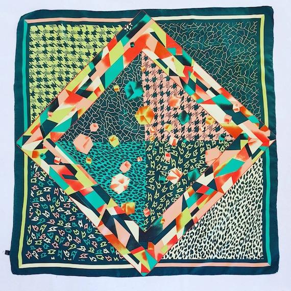 Seventies pure silk vintage green scarf