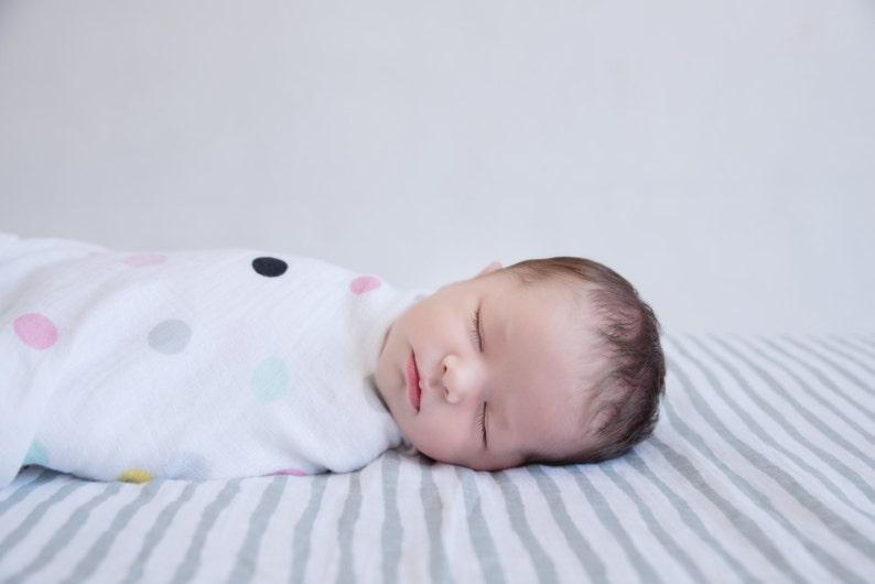 /'Spots/' Pram /& Nursing cover Large Baby Swaddle Blanket Baby Shower Receiving Blanket Emma Brooke Design GOTS Organic Cotton Baby Wrap