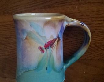 Hand made ceramic pottery mug, dragonfly mug, green ceramic mug, blue ceramic mug, stonware mug, dishwasher safe mug, microwave safe mug