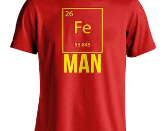 Men's Iron Man Science T-Shirt Funny Superhero Graphic Tee