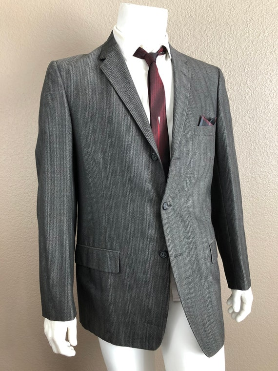 1950s Grey Sharkskin Suit Sportcoat, complete suit