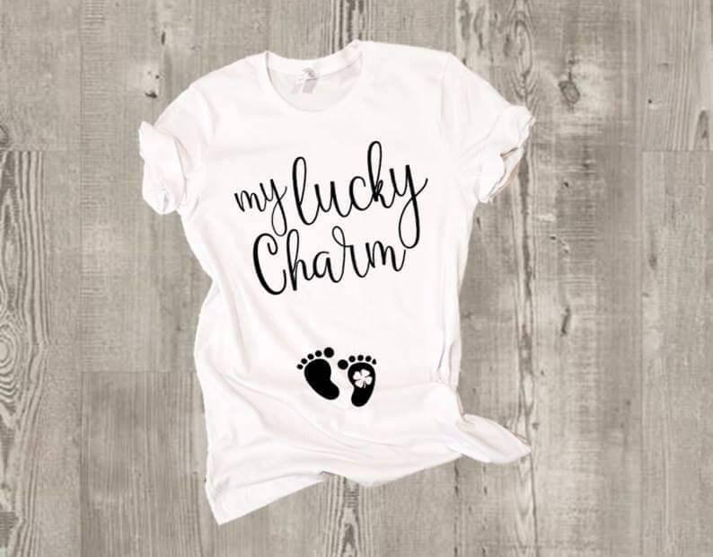 d886e2375198 My Lucky Charm. Baby bump Four Leaf Clover stamp footprints.