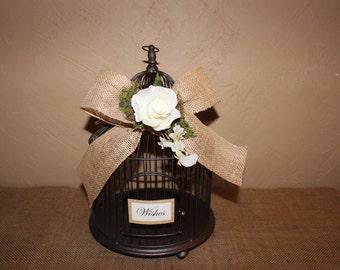 Wedding Birdcage Cardholder / Rustic Wedding Wishes Birdcage / Wedding Cardholder